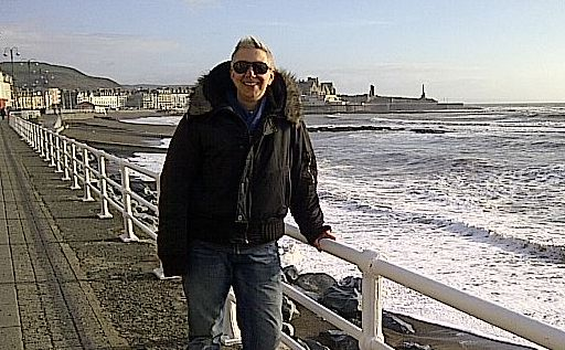 Helen Sandler on the seafront at Aberystwyth